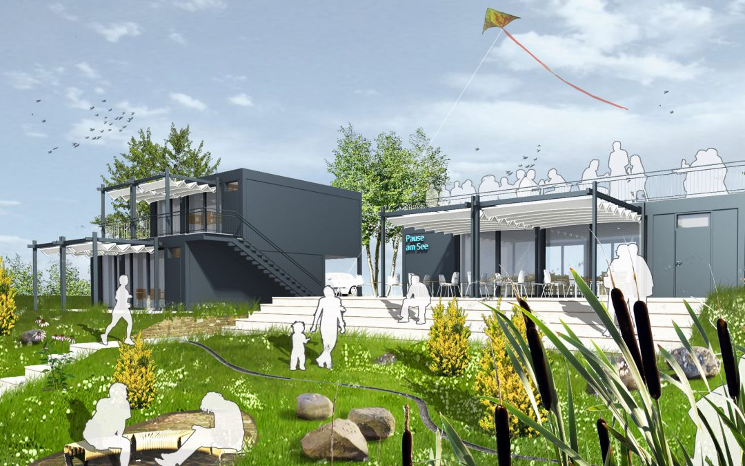 Neubau Café und Ferienhäuser am Hainer See